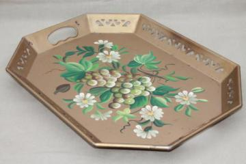 vintage Pilgrim Art tole ware serving tray w/ hand-painted flowers & grapes