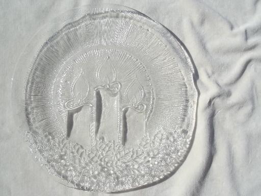 vintage Pilgrim glass cake plate or platter w/ Christmas candles design