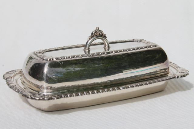 Vintage Pilgrim Silver Plated Covered Butter Dish W Glass