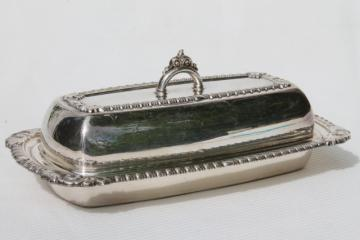 vintage Pilgrim silver plated covered butter dish w/ glass liner plate