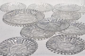 vintage Pioneer fruit pattern glass platter & salad or dessert plates set for 10