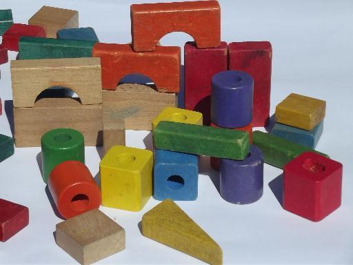 Colored Wood Blocks ~ Vintage playskool colored wood blocks lot wooden building