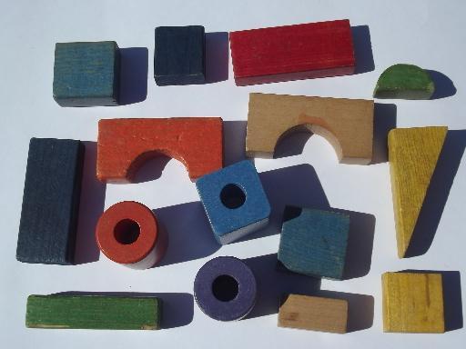 Vintage playskool colored wood blocks lot wooden building