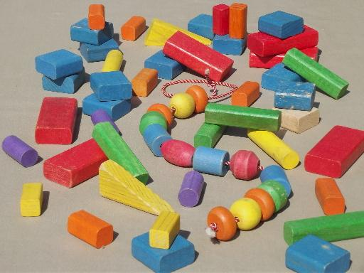 vintage Playskool colored wood blocks, old wooden toy building blocks