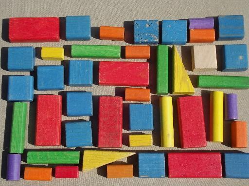 Vintage playskool colored wood blocks old wooden toy