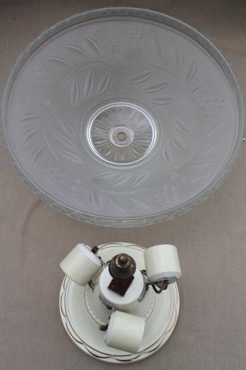 Vintage Porcelier China Flush Mount Ceiling Light Fixture
