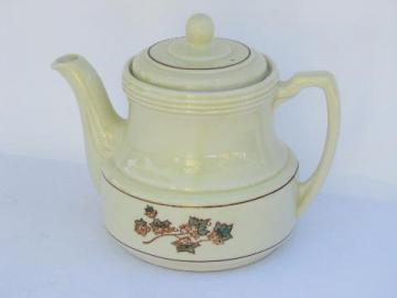 vintage Porcelier ironstone china coffee pot teapot, green ivy pattern