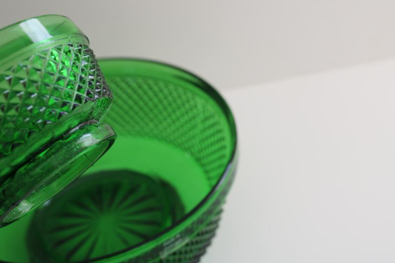 vintage Portugal forest green glassware, diamond point hobnail pattern glass bowls