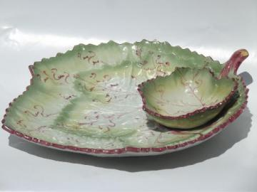 vintage Portugal majolica pottery cabbage leaf serving tray w/ bowl