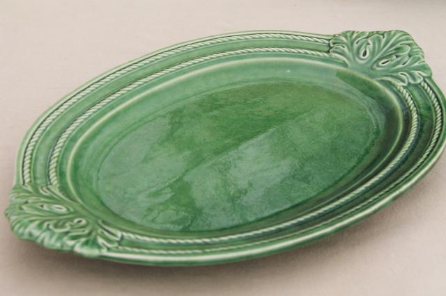 vintage Portugal pottery huge soup tureen ladle u0026 platter Bordallo Pinheiro green leaf & vintage Portugal pottery huge soup tureen ladle u0026 platter Bordallo ...