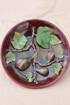 vintage Portugal pottery majolica, hand painted ceramic plate w/ life sized figs