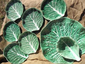 vintage Portugal pottery, majolica lettuce leaf salad plates & chip n dip set