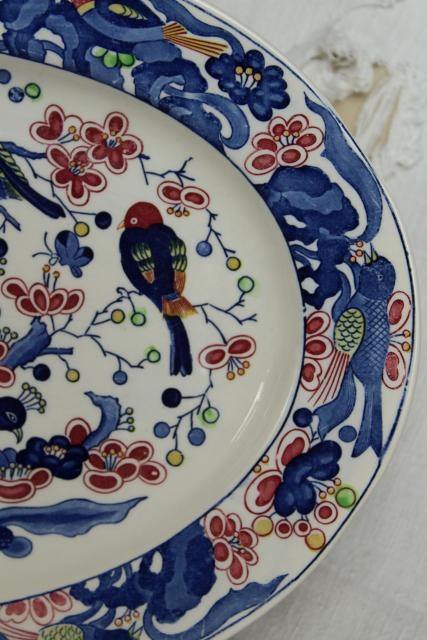 vintage Portugal pottery platter or tray, hand painted ceramic tree of life peacock & birds