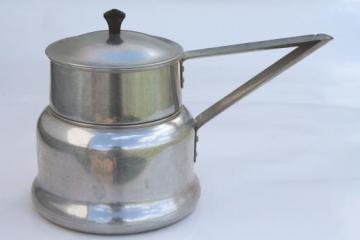 vintage Priscilla Ware aluminum double boiler water bath pan, 2 qt saucepan