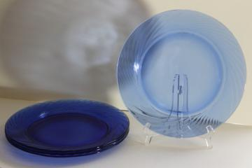 vintage Pyrex Festiva cobalt blue glass charger plates set of four