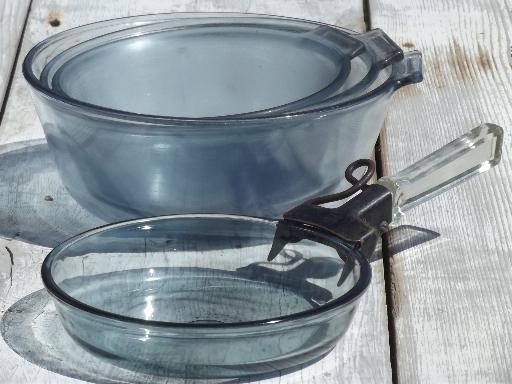 Vintage Pyrex Flameware Blue Tint Glass Pots Pans