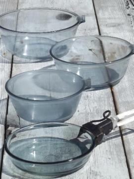 vintage Pyrex Flameware blue tint glass pots, pans & handle lot