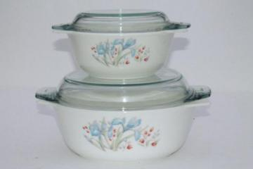 vintage Pyrex blue iris mixing bowl mix & bake casseroles w/ clear glass lids