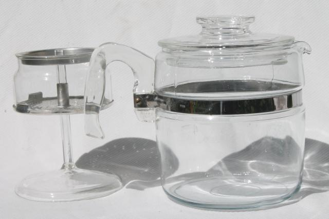 vintage Pyrex flameware 7756-B stovetop percolator, clear glass coffee pot