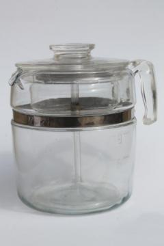 vintage Pyrex flameware 7759 stovetop percolator, nine cup clear glass coffee pot