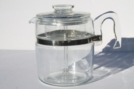 vintage Pyrex flameware 7759-B stovetop percolator, clear glass coffee pot