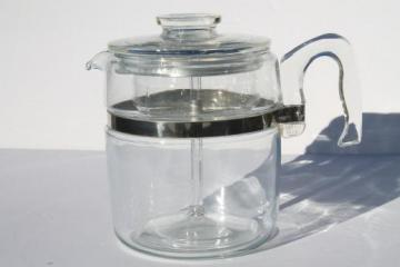 vintage Pyrex flameware 7759-B stovetop percolator, clear glass coffee pot