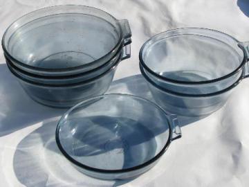 vintage Pyrex flameware blue glass pots & pans, saucepan bowls lot