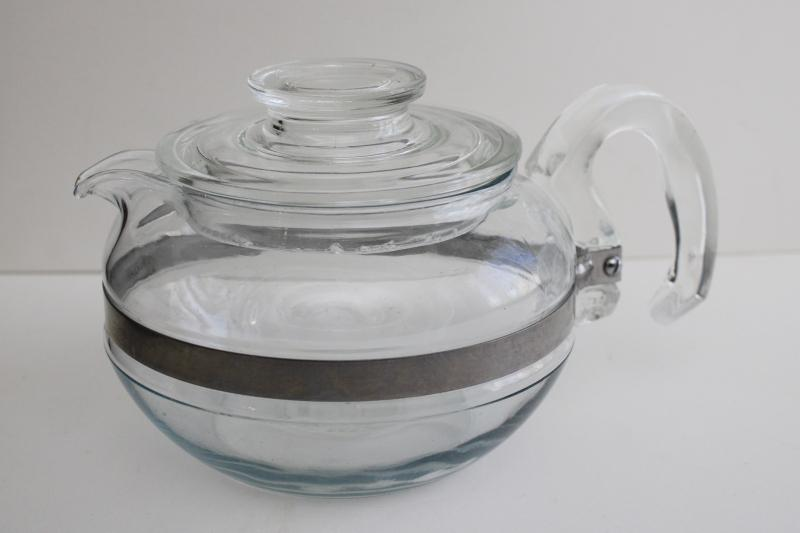 vintage Pyrex flameware clear no tint glass tea pot, heat proof for stovetop