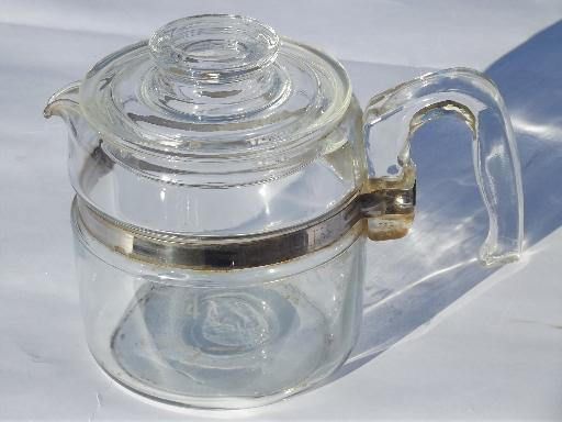 vintage Pyrex flameware percolator for replacement parts, filter basket and rod