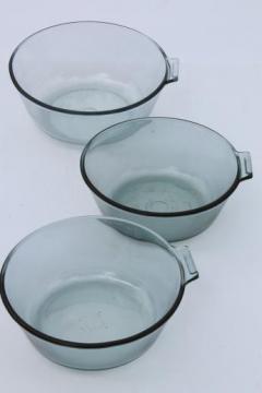 vintage Pyrex flameware sapphire blue glass pots & pans, saucepan bowls lot
