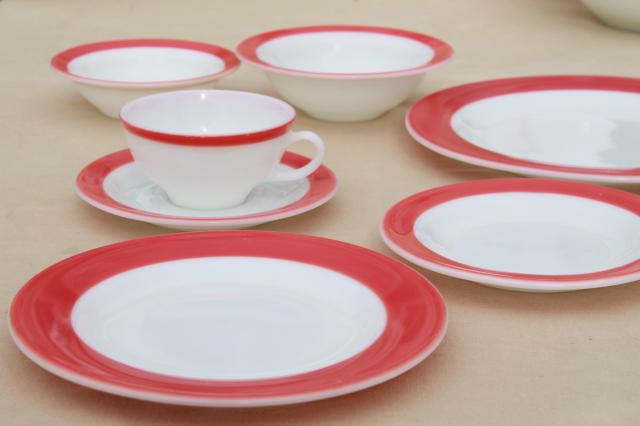 Vintage Pyrex Flamingo Pink Border Milk Glass Dishes, Retro Red U0026 White Dinnerware  Set