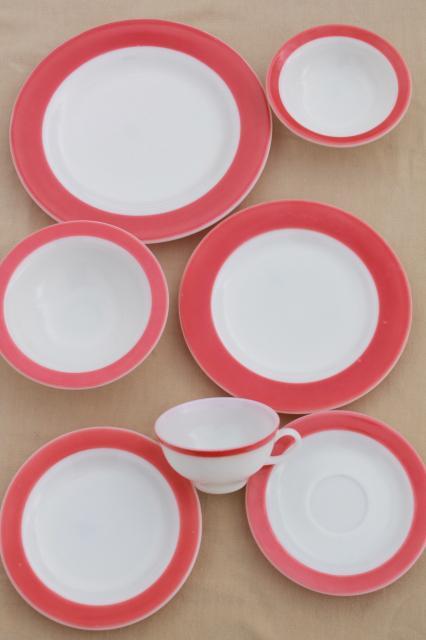 vintage Pyrex flamingo pink border milk glass dishes retro red \u0026 white dinnerware set & Pyrex flamingo pink border milk glass dishes retro red \u0026 white ...