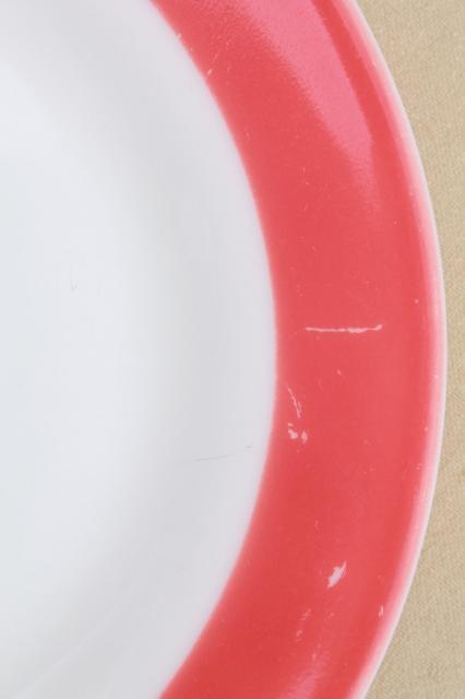 vintage Pyrex flamingo pink border milk glass dishes retro red u0026 white dinnerware set & vintage Pyrex flamingo pink border milk glass dishes retro red ...