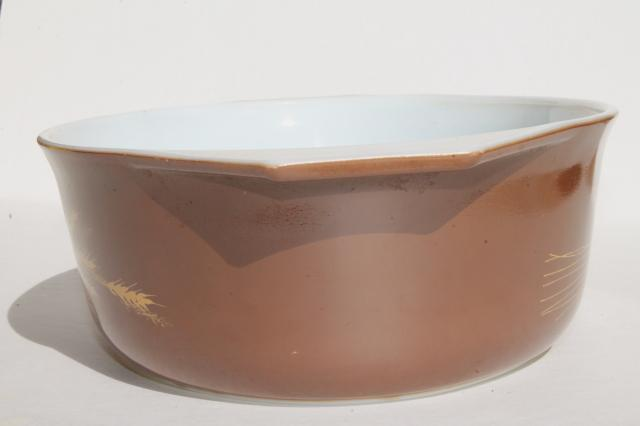 vintage Pyrex gold wheat on brown Autumn Harvest large oval casserole