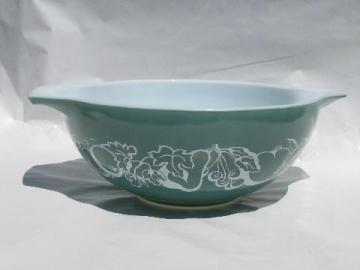 vintage Pyrex kitchen glass mixing bowl, teal green w/ fruit salad pattern