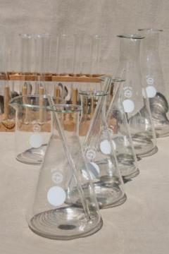 vintage Pyrex lab glass lot - chemistry laboratory flasks, beakers, test tubes