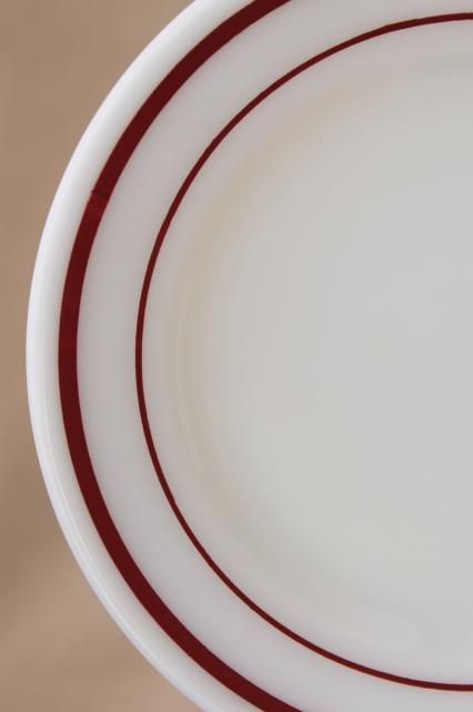vintage Pyrex milk glass plates w/ cranberry red band retro dishes set for 8 & Pyrex milk glass plates w/ cranberry red band retro dishes set for 8