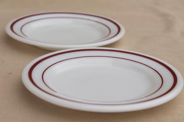 vintage Pyrex milk glass plates w/ cranberry red band, retro dishes set for 8
