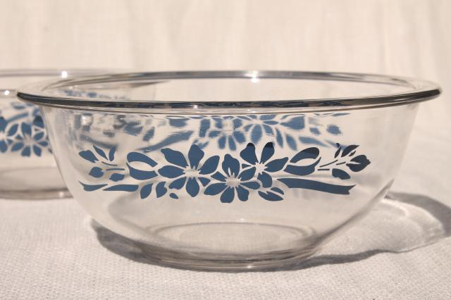 Vintage Pyrex Nesting Mixing Bowls Clear Glass W Blue