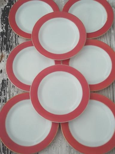 vintage Pyrex plates, aqua & flamingo pink colored band milk glass plates