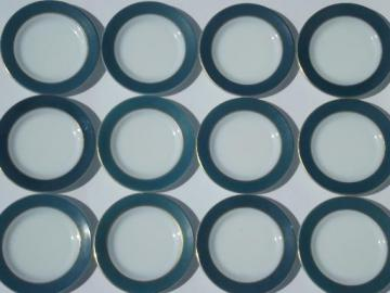 vintage Pyrex plates, teal green colored band milk glass sandwich plates