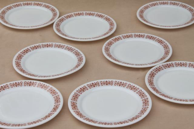 vintage Pyrex restaurant ware plates, milk glass w/ butterfly gold go-along border