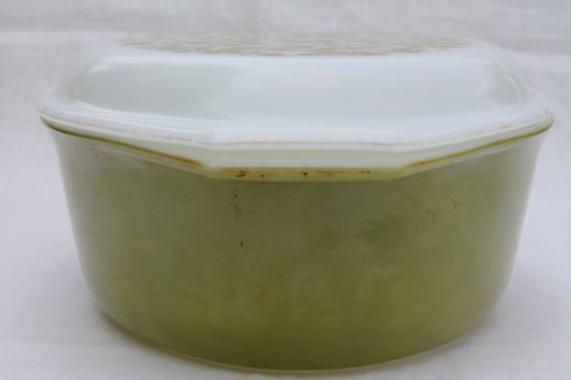 vintage Pyrex verde mistletoe green large oval casserole & print glass cover