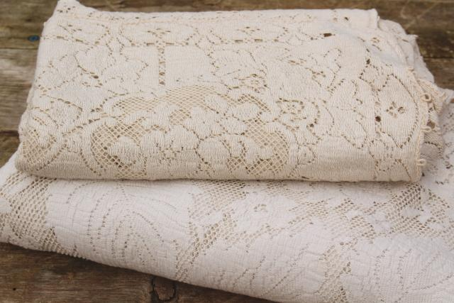 vintage Quaker label cotton lace tablecloths, creamy off-white pale ivory lace table covers