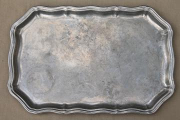 vintage Queen Anne gadroon RWP pewter, Wilton Armetale rectangular tray