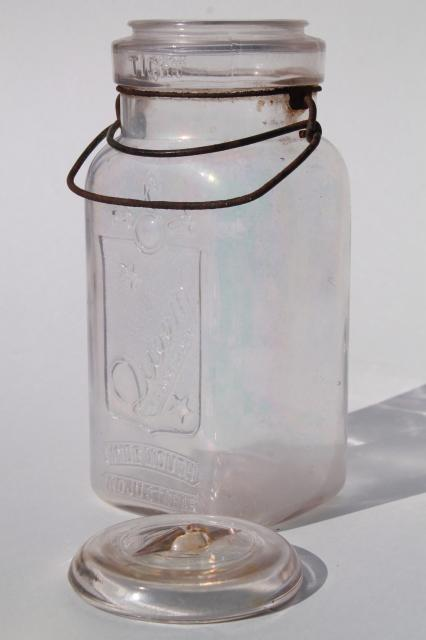 vintage Queen glass canning jar, embossed quart jar w/ glass lid, wire bail