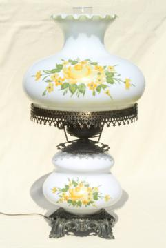 vintage Quoizel hand-painted milk glass chimney shade lamp, Abigail Adams GWTW style