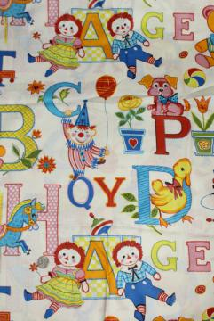 vintage Raggedy Ann & Andy print fabric, polished cotton 2+ yards