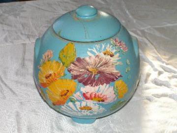 vintage Ransburg cookie jar, blue with fiesta flowers
