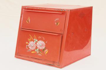 vintage Ransburg metal breadbox, red orange bread box w/ bright painted flowers